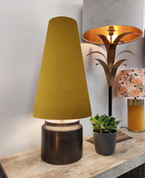 Extra Tall Mustard Velvet Lampshade in a Conical Cone Design
