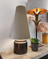 Tall Cone Lampshade in Taupe Brown Velvet