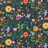 Black Aviary Cotton Fabric, By the Half or Full Metre