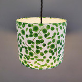 Eucalyptus Leaves Lampshade in Green and White Cotton