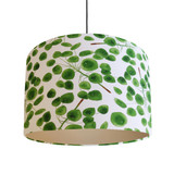 Eucalyptus Leaves Lampshade in Green and White Cotton with Champagne Lining