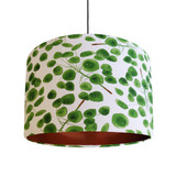 Eucalyptus Leaves Lampshade in Green and White Cotton with Copper Lining