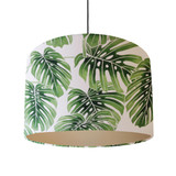 Large Palm Leaves Lampshade in White and Green Cotton with a Champagne Lining