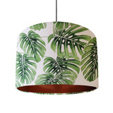 Large Palm Leaves Lampshade in White and Green Cotton with a Brushed Copper Lining