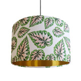 Pink and Green Leaves Lamp Shade with Gold Liner