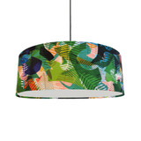 Extra Large Ceiling Lightshade in a Green Geometric Cotton Fabric