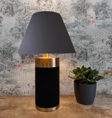 Empire Lampshade in Dark Grey Cotton and Choice of Lining