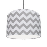 Grey and White Cotton Lampshade with White Lining