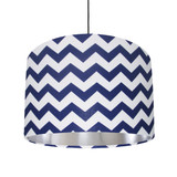Blue and White Lampshade with Silver Lining