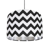 Black and White Lampshade with Brushed Silver Lining