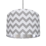 Grey and White Lampshade with Silver Lining in Cotton