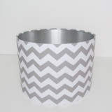 Grey and White Lampshade in Cotton and Silver Lining