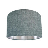 Duck egg blue and silver lined lampshade - Linen Look