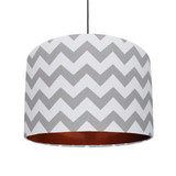 Grey and White Cotton Lampshade with Copper Lining