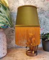 Mustard Velvet Lampshade with Gold Fringe and Braiding