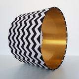 Black Chevrons Zig zags Lampshade with Brushed Gold