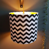 Black and White Chevrons Lampshade with a Gold Lining