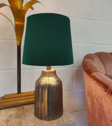 French Drum Lampshade in a Green Velvet and a Choice of Lining