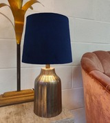 French Drum Lampshade in a Navy Blue Velvet and a Choice of Lining