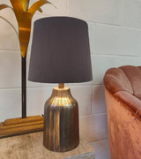 French Drum Lampshade in a Charcoal Velvet with a Choice of Lining