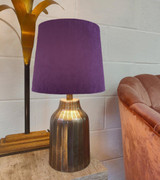 French Drum Lampshade in Purple Velvet and a Choice of Lining