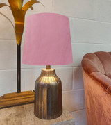 Light Pink French Drum Lampshade in Velvet with Choice of Lining
