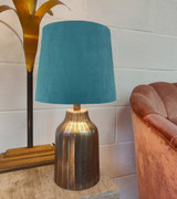 French Drum Lampshade in a Teal Velvet and a Choice of Lining