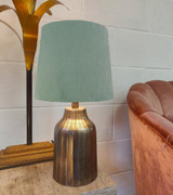 French Drum Lampshade in Mint Green Velvet and a Choice of Lining