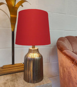 French Drum Lampshade in a Red Cotton and a Choice of Lining
