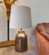 Light Grey French Drum Lampshade in Cotton and Choice of Lining
