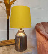 French Drum Lampshade in a Mustard Yellow Cotton with a Choice Lining