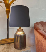 French Drum Lampshade in a Dark Grey Cotton and a Choice of Lining