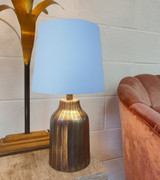 French Drum Lampshade in a Light Blue Cotton and a Choice of Lining