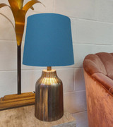 French Drum Lampshade in a Teal Cotton and a Choice of Lining