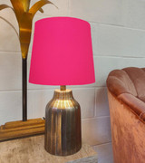 French Drum Lampshade in a Bright Pink Cotton and a Choice of Lining