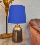 French Drum Lampshade in a Royal Blue Cotton and Choice of Lining