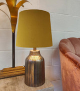 French Drum Lampshade in Mustard Yellow Velvet and Choice of lining