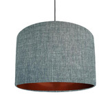 Duck egg blue and copper lined lampshade - Linen Look