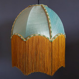 Pale Green Silk Lampshade with Luxury Fringe Trimming in Gold
