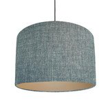 Duck egg blue and champagne lined lampshade - Linen Look