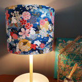 Moon Rabbit Fabric Lampshade featuring bunnies and flowers in an oriental theme