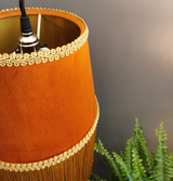 Burnt Orange Velvet Tapered Lampshade with Gold Fringe and Gold Lining