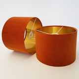 Burnt Orange Velvet Lampshade with a gold lining