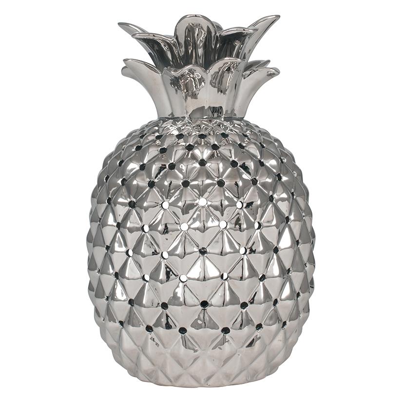 Silver Metal Pineapple Table Lamp, Art Deco