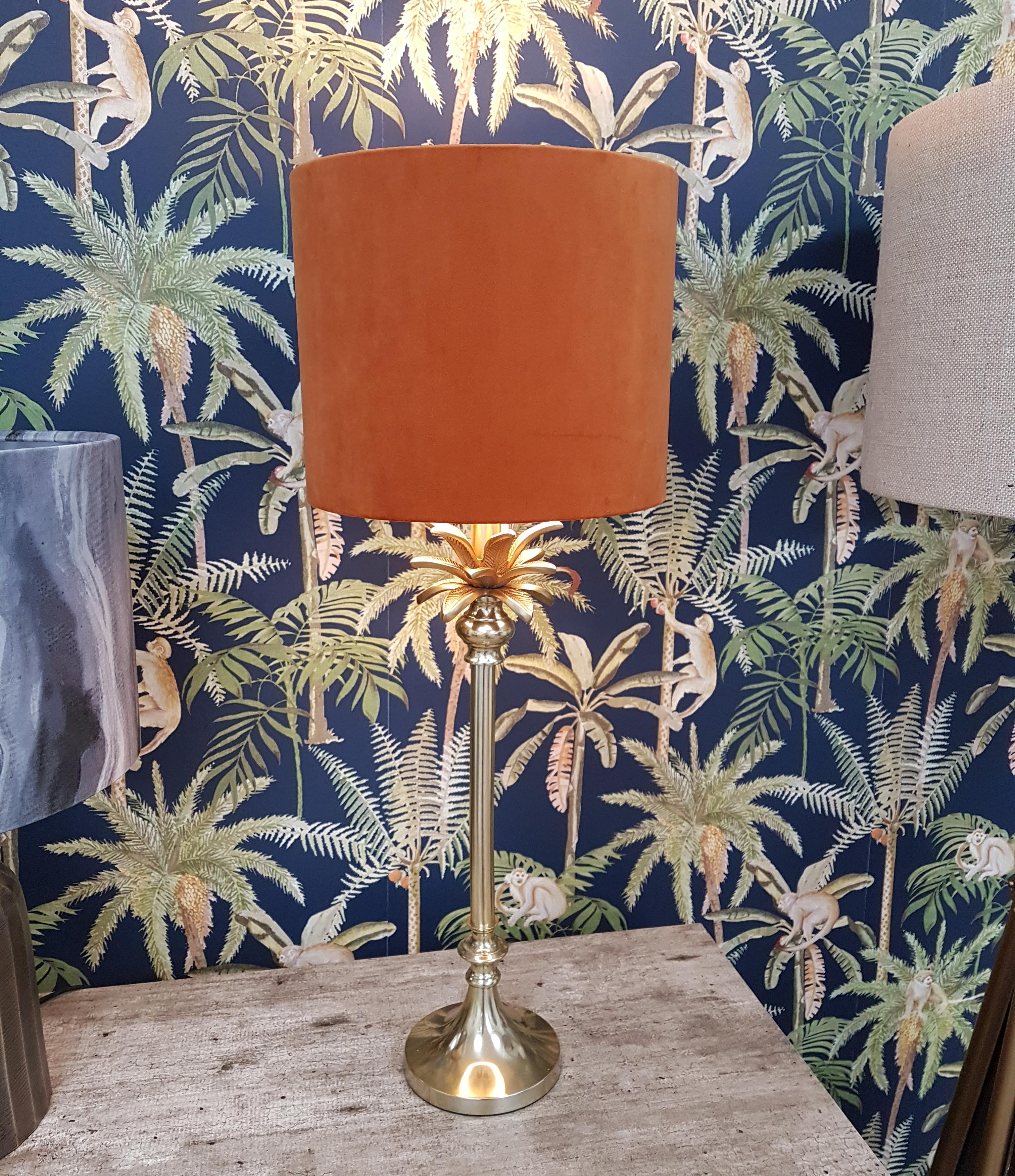 Gold Table Lamp in a Palm Tree Design