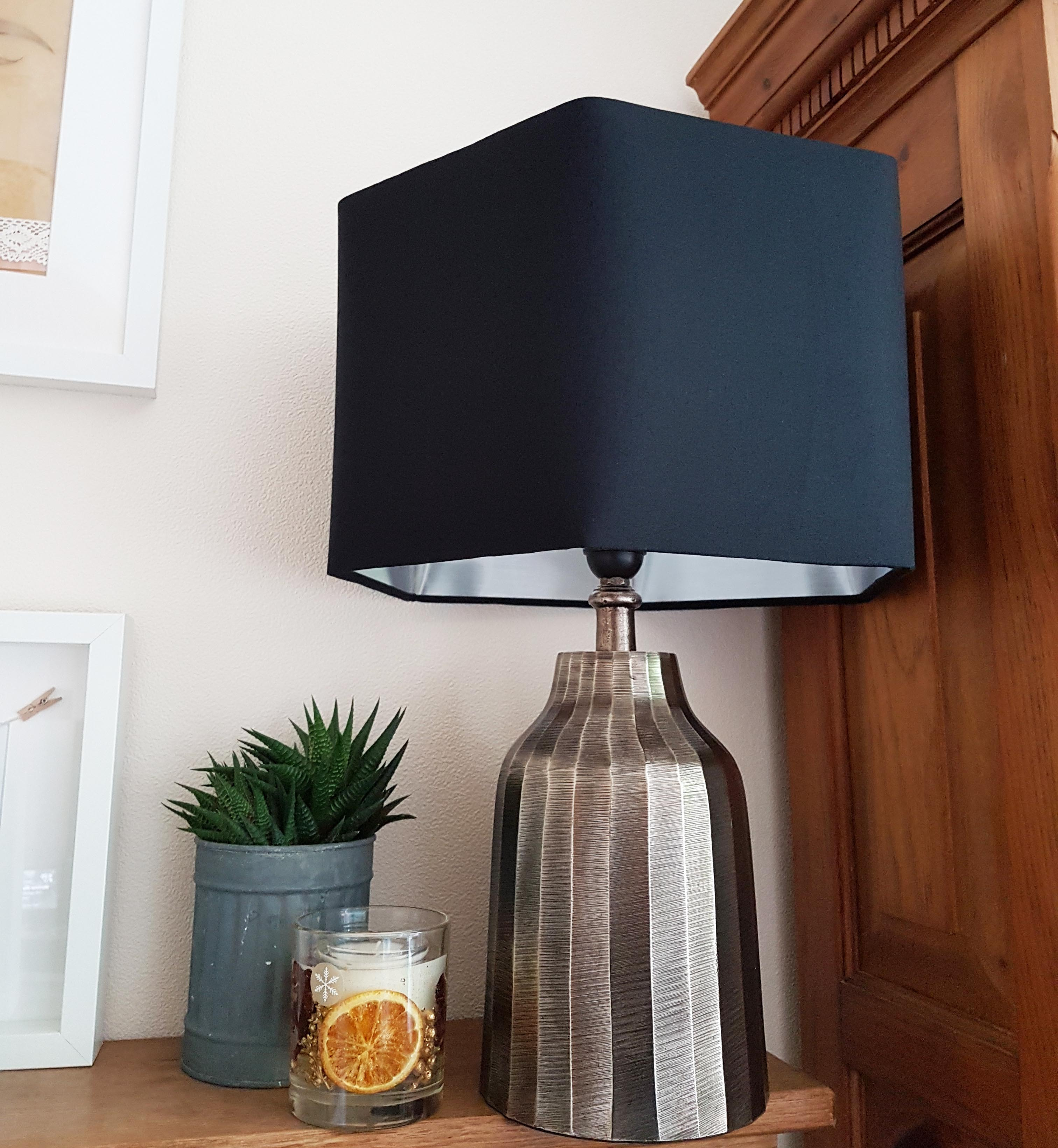 Silver Metal Table Lamp with Black Hexagon lampshade