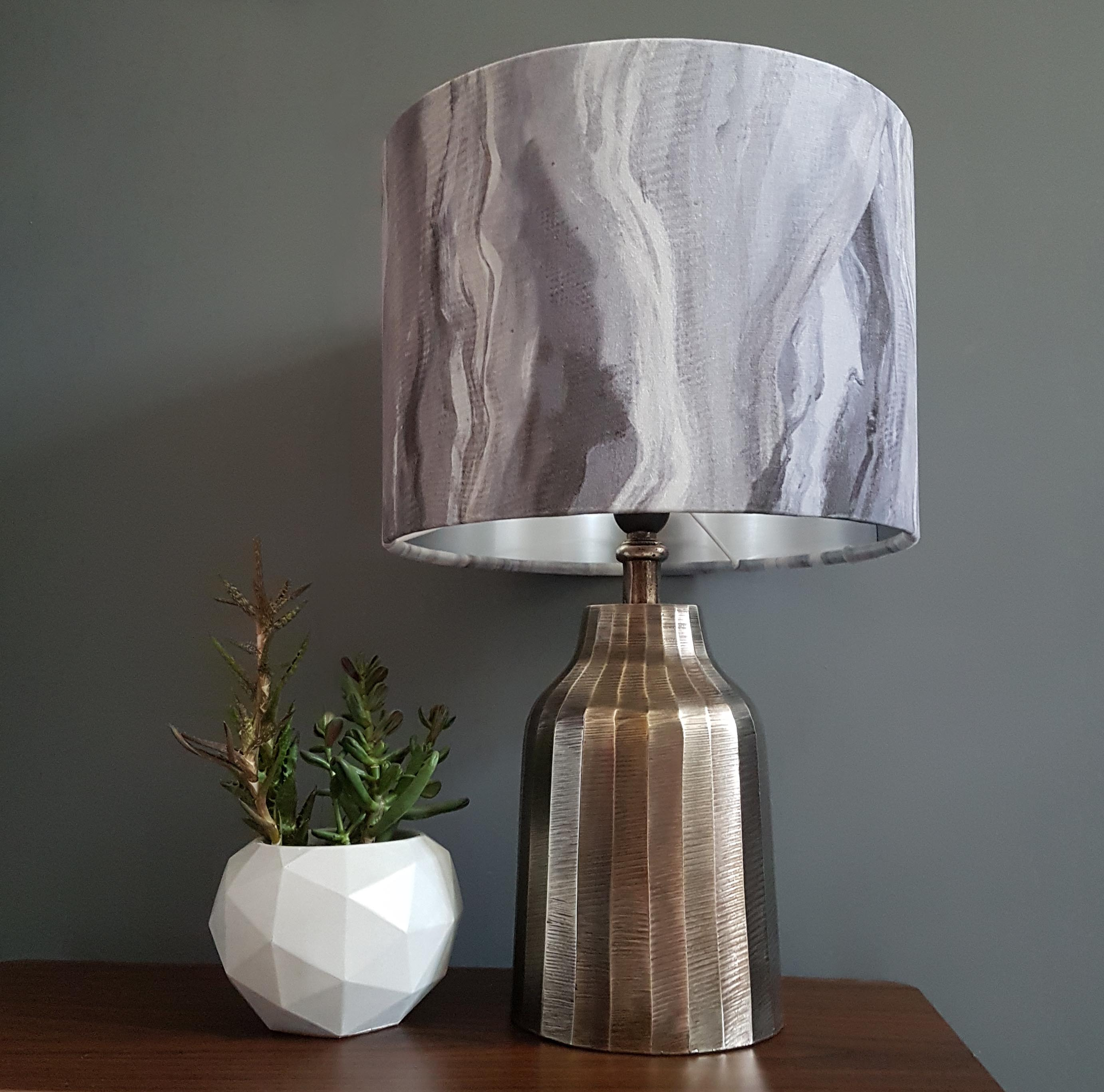 Textured Antique Silver Table Lamp