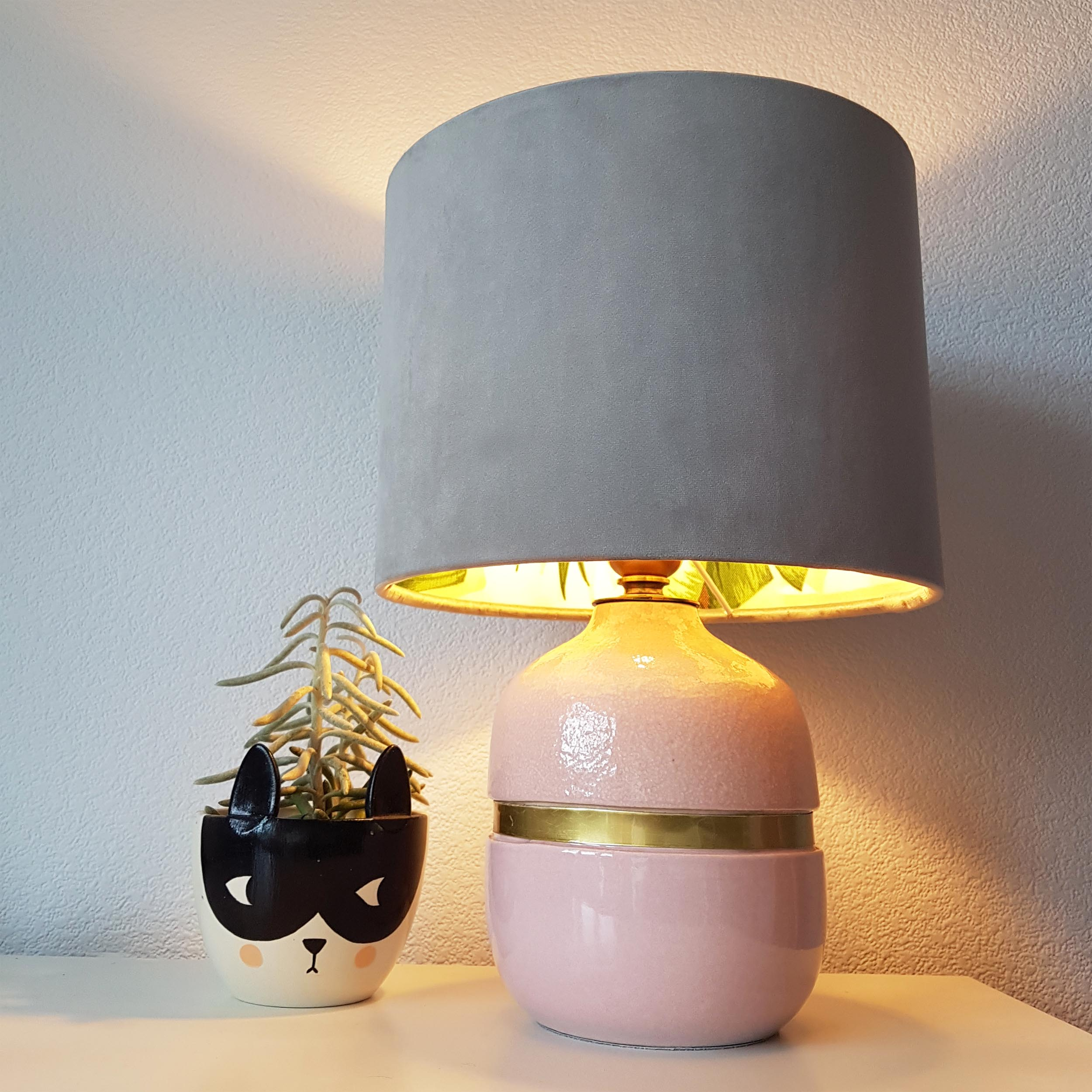 Blush Pink Table Lamp for Girls Room, with Decorative Gold Metal Band