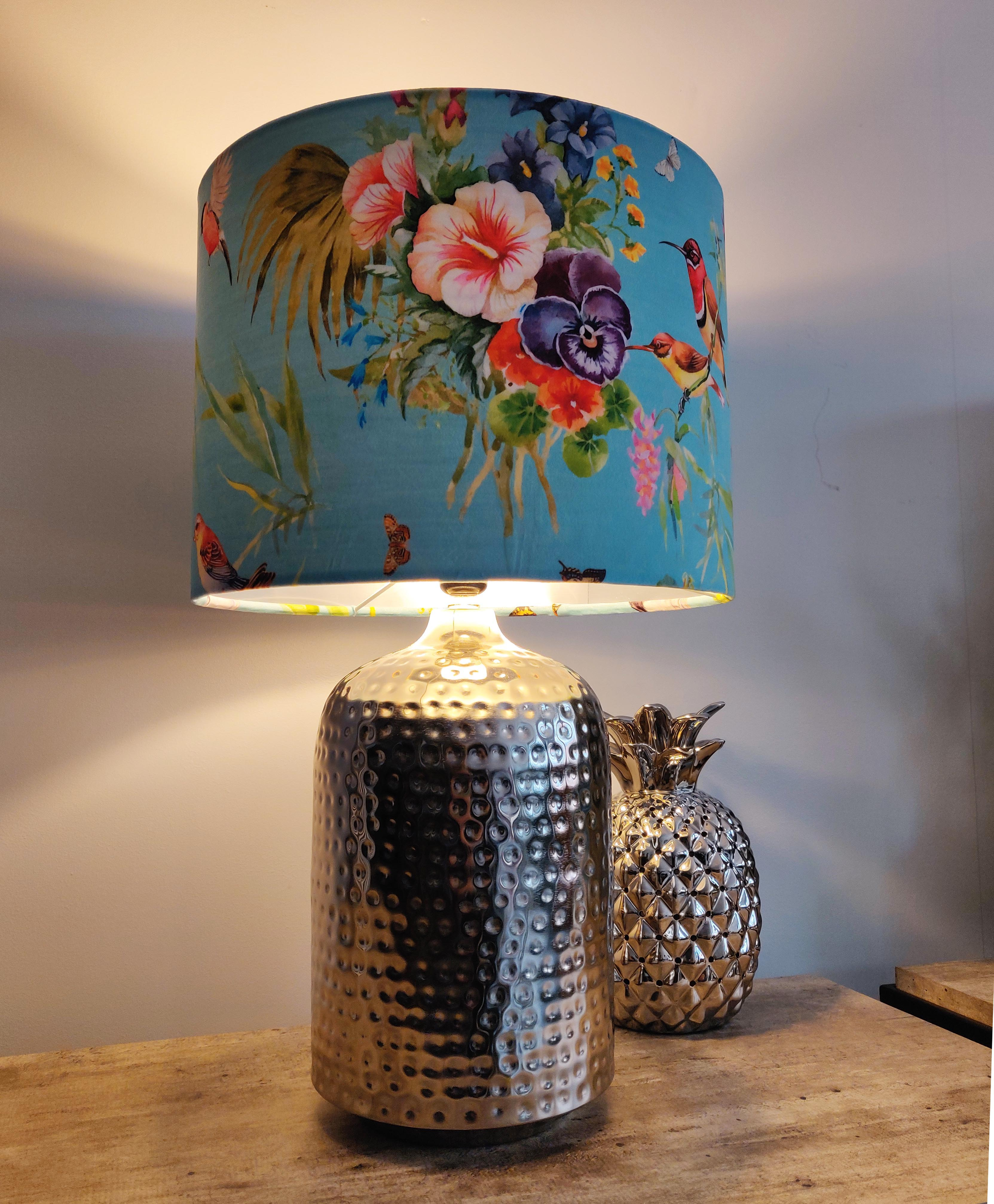 Silver Hammered Metal Table Lamp