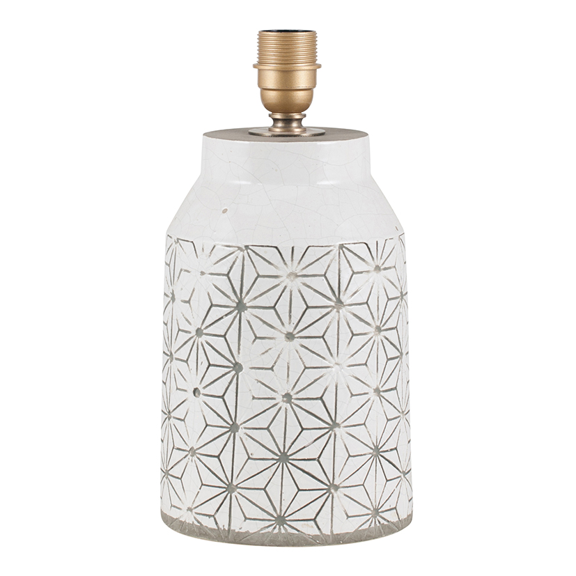 White Stoneware Table Lamp, with Geometric Design